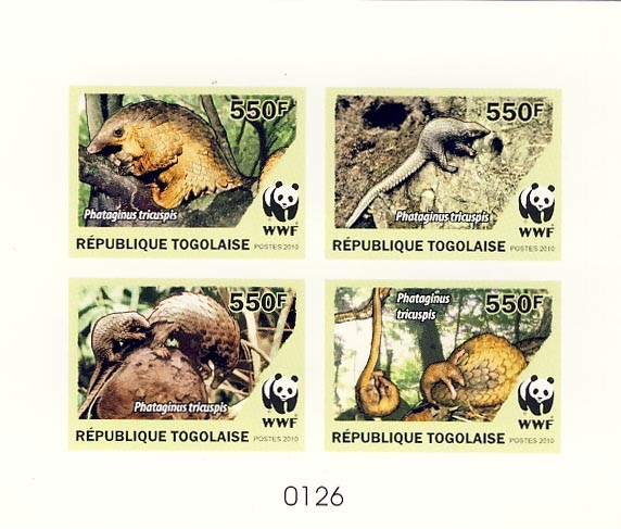 WWF Phataginus tricuspisDe Luxe sheet with 4v - Issue of Togo postage stamps