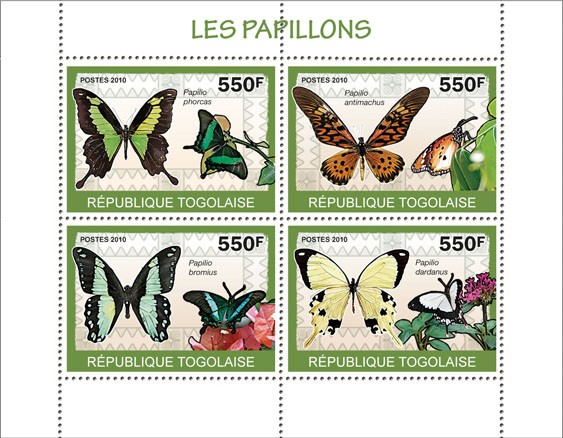 Butterflies, (Papilio phorcas...dardanus) - Issue of Togo postage stamps