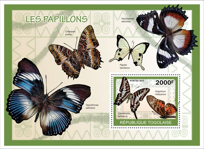 Butterflies, ( Cardisoma armatum, Graphium ridleyanus ) - Issue of Togo postage stamps