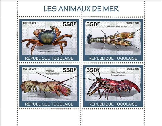 Sea Animals, (Cardisoma armatum?タᆭBrachycarpus biunguiculatus) - Issue of Togo postage stamps