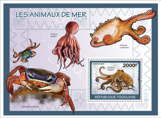 Sea Animals, ( Octopus vulgaris ) - Issue of Togo postage stamps