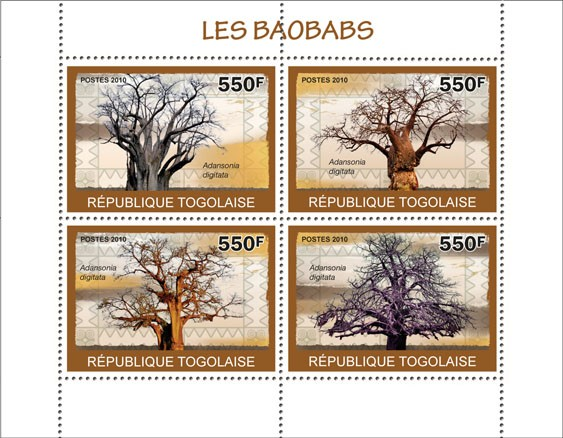 Baobabs, ( Adansonia digitata ) - Issue of Togo postage stamps