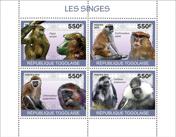 Monkeys, ( Papio anubis?タᆭColobus polykomos ) - Issue of Togo postage stamps