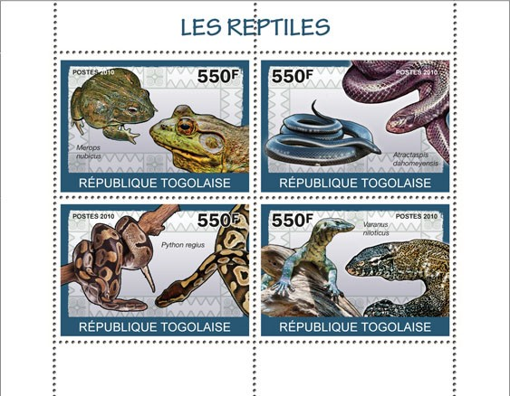 Reptiles, ( Merops nubicus?タᆭVaranus niloticus ) - Issue of Togo postage stamps