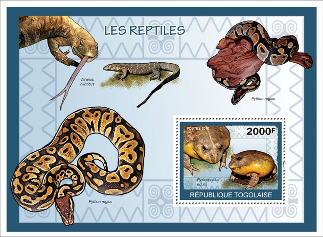 Reptiles, ( Pyxicephatlus edulis ) - Issue of Togo postage stamps