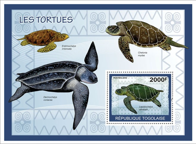 Turtles, ( Lepidochelys olivacea ) - Issue of Togo postage stamps