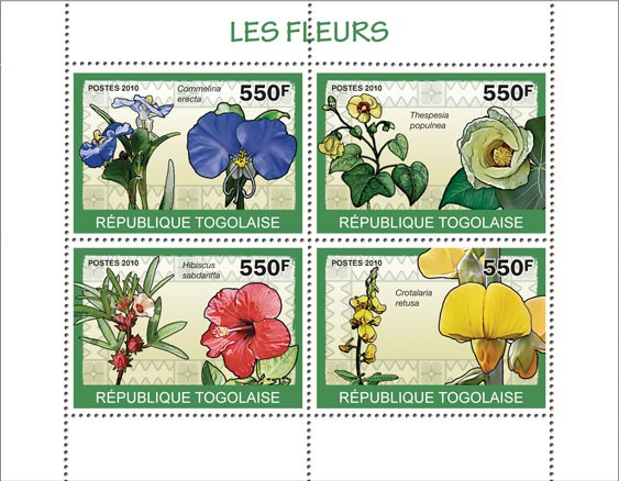 Flowers, ( Commelina erecta?タᆭCrotalaria retusa ) - Issue of Togo postage stamps