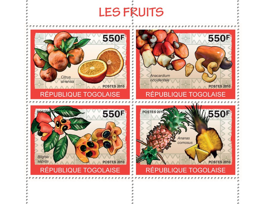Fruits, (Citrus sinensis ... Ananas comosus) - Issue of Togo postage stamps