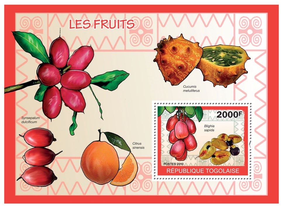 Fruits, (Blighia sapida) - Issue of Togo postage stamps