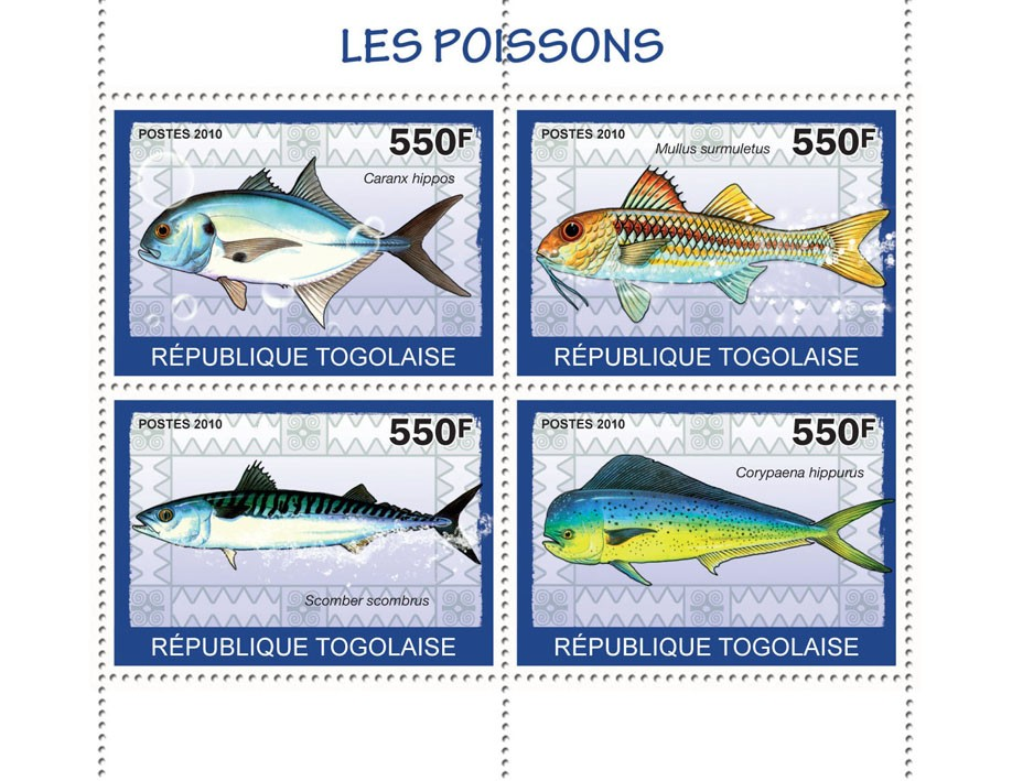 Fishes, (Caranax Hippos ... Corypaena hippurus) - Issue of Togo postage stamps