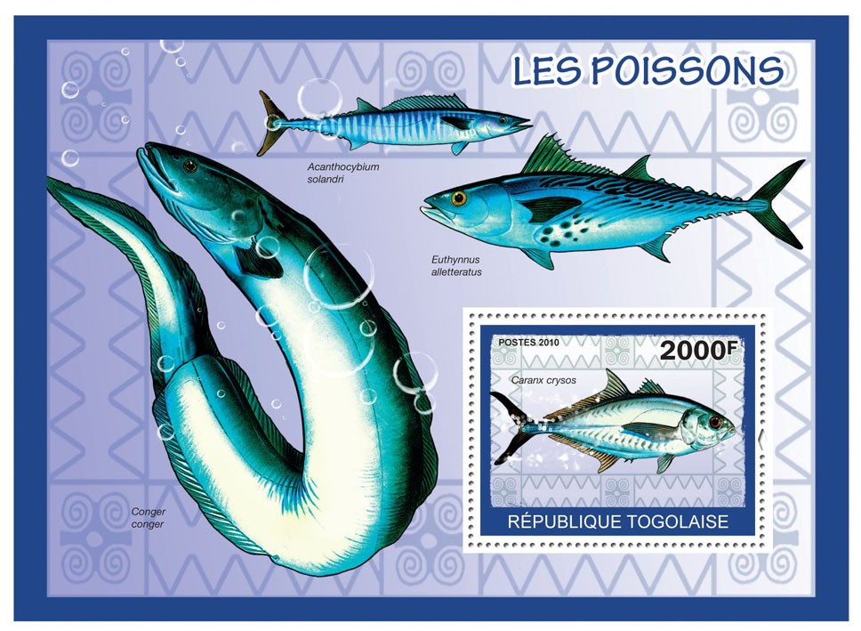 Fishes, (Caranx crysos) - Issue of Togo postage stamps