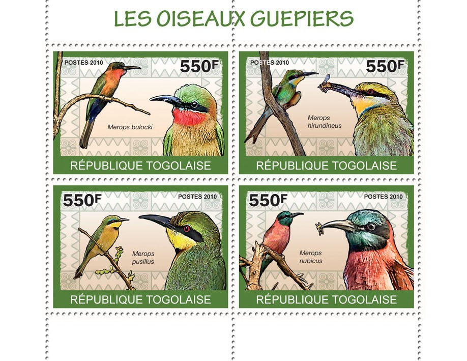 The Bee-Eaters Birds, (Merops bulocki ?タᆭ Merops nubicus) - Issue of Togo postage stamps