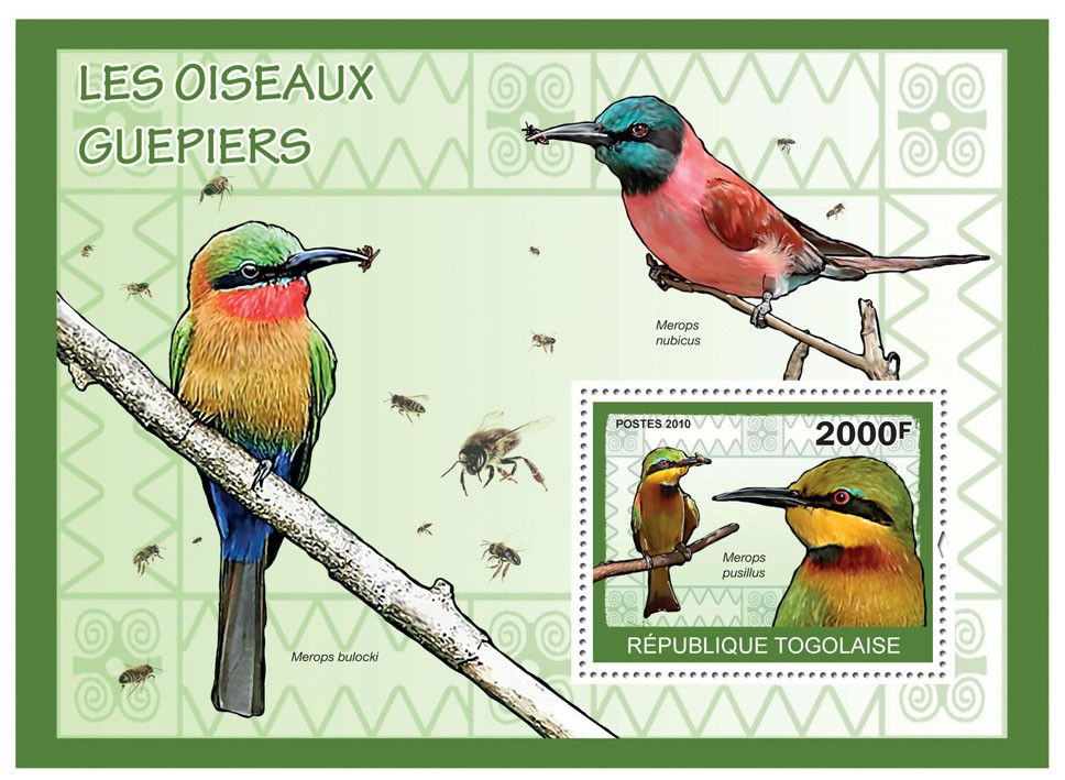 The Bee-Eaters Birds, (Merops pusillus) - Issue of Togo postage stamps