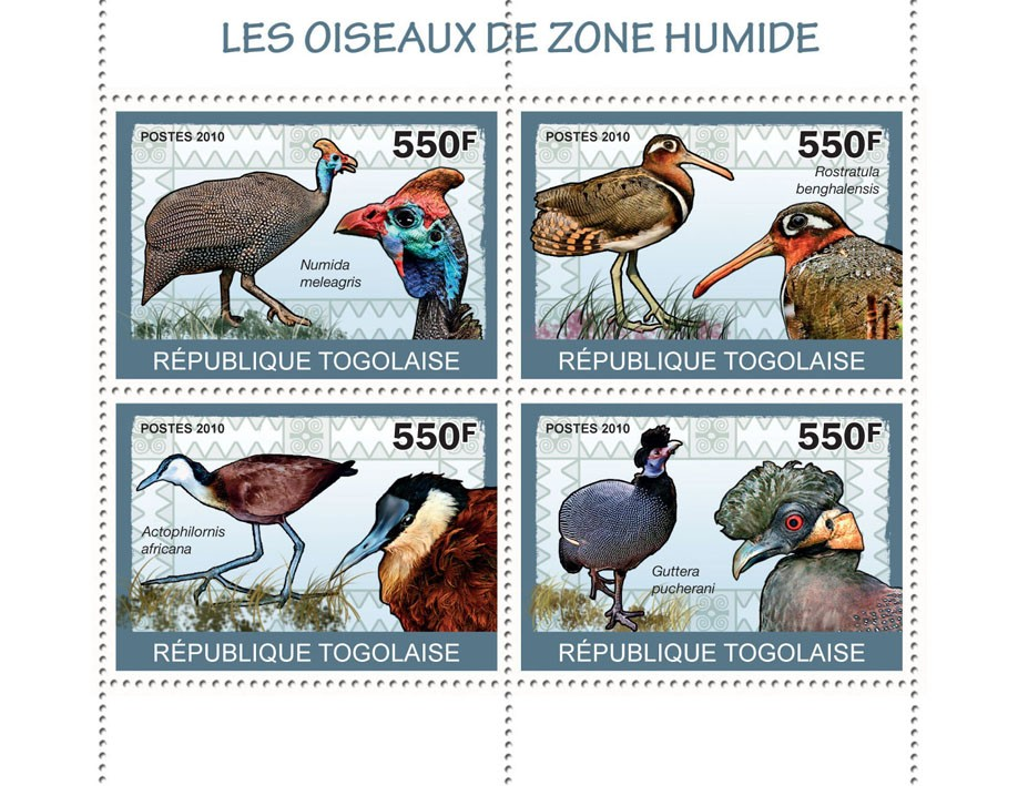 Wetland Birds, (Numida meleagris ?タᆭ Guttera pucherahi) - Issue of Togo postage stamps