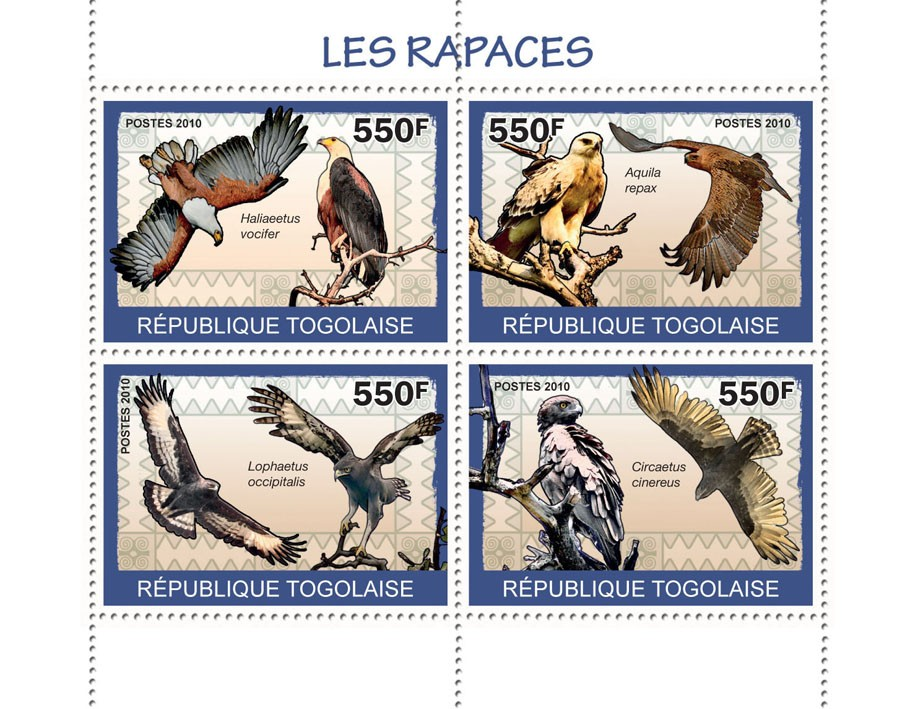 Birds of Prey, (Haliaeetus vocifer ?タᆭ Circaetus cinereus) - Issue of Togo postage stamps