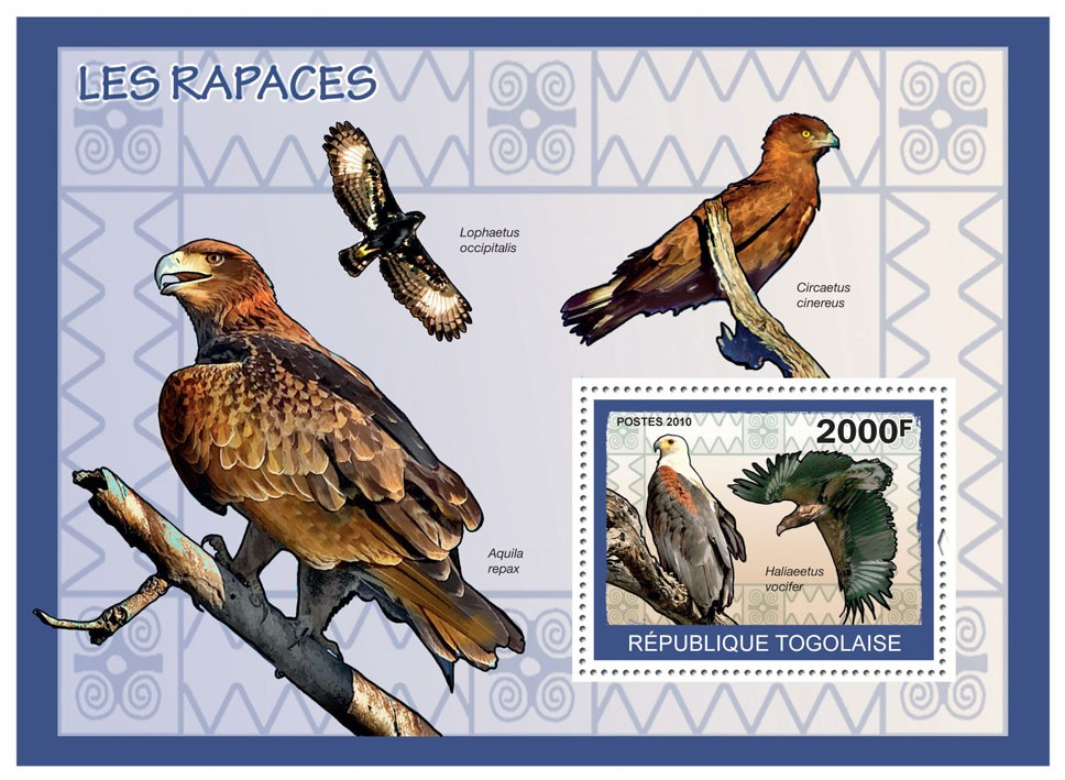 Birds of Prey, (Haliaeetus vocifer) - Issue of Togo postage stamps