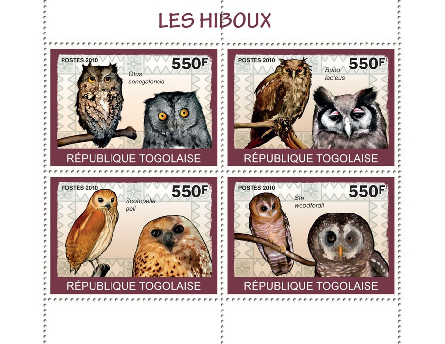 Owls, (Otus senegalensis ... Stix woodfordi) - Issue of Togo postage stamps