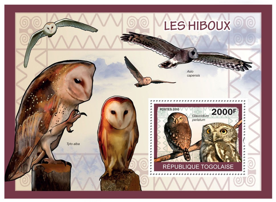 Owls, (Galucidium perlatum) - Issue of Togo postage stamps