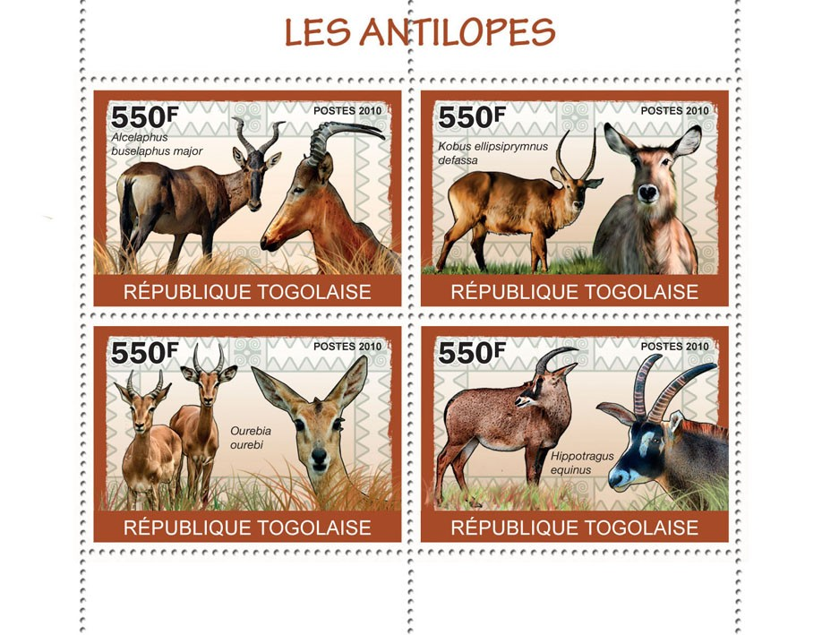 Antelopes, (Alcelaphus nuselaphus major ?タᆭ Hippotargus eguinus) - Issue of Togo postage stamps