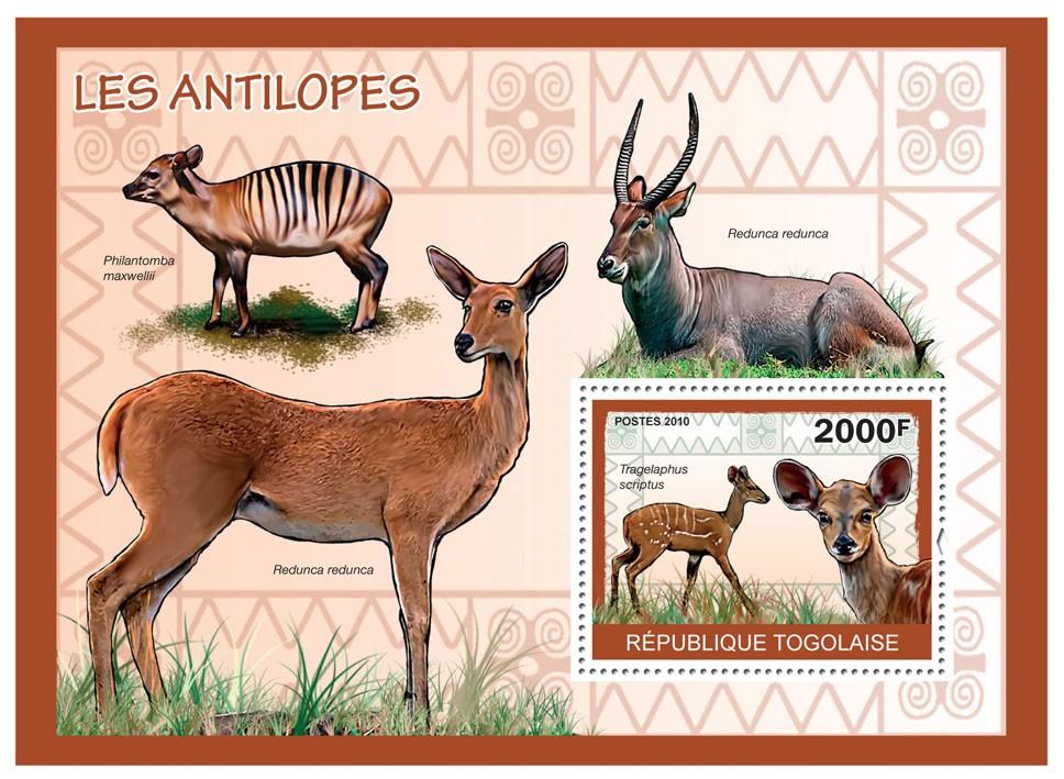 Antelopes, (Tragelaphus scriptus) - Issue of Togo postage stamps