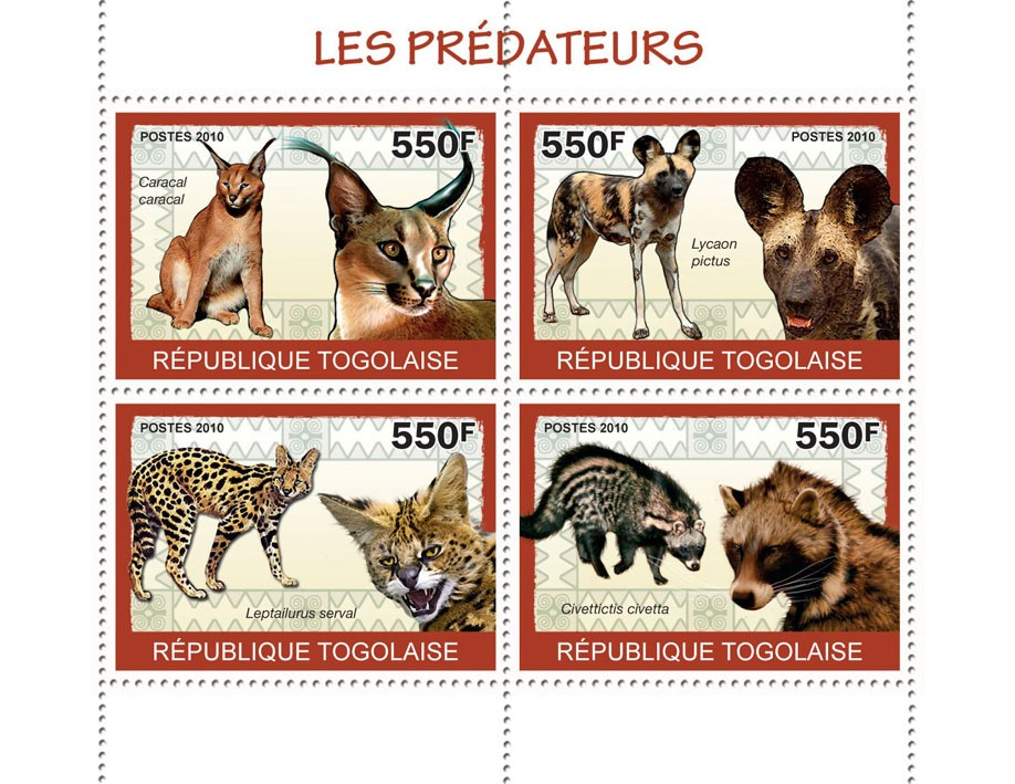 Predators I, (Caracal caracal ... Civettictis civetts) - Issue of Togo postage stamps