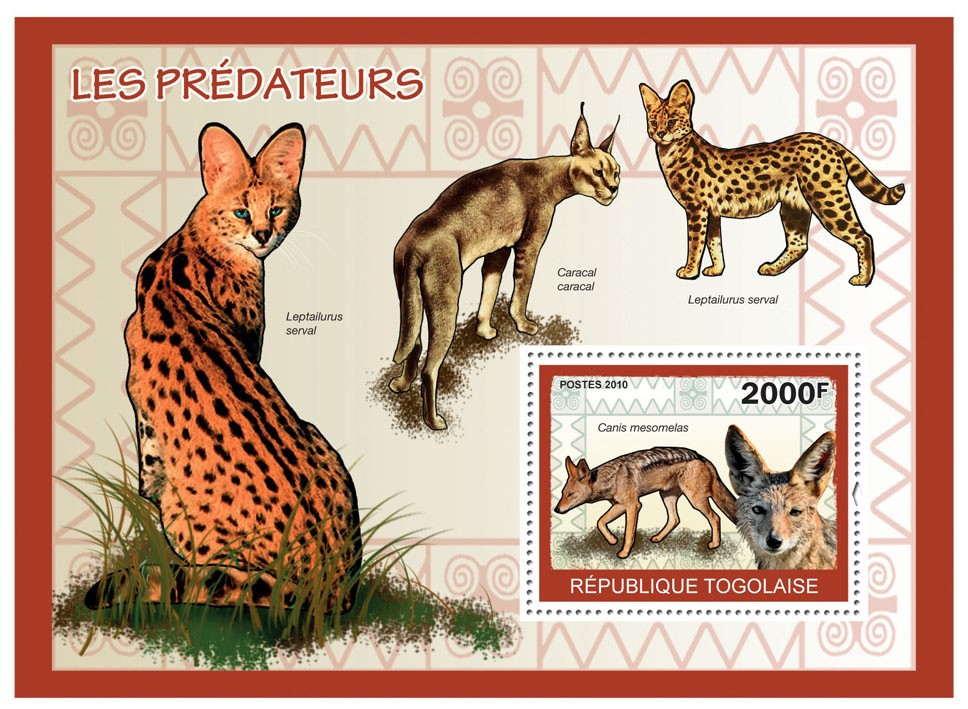 Predators I, (Canos mesomelas) - Issue of Togo postage stamps