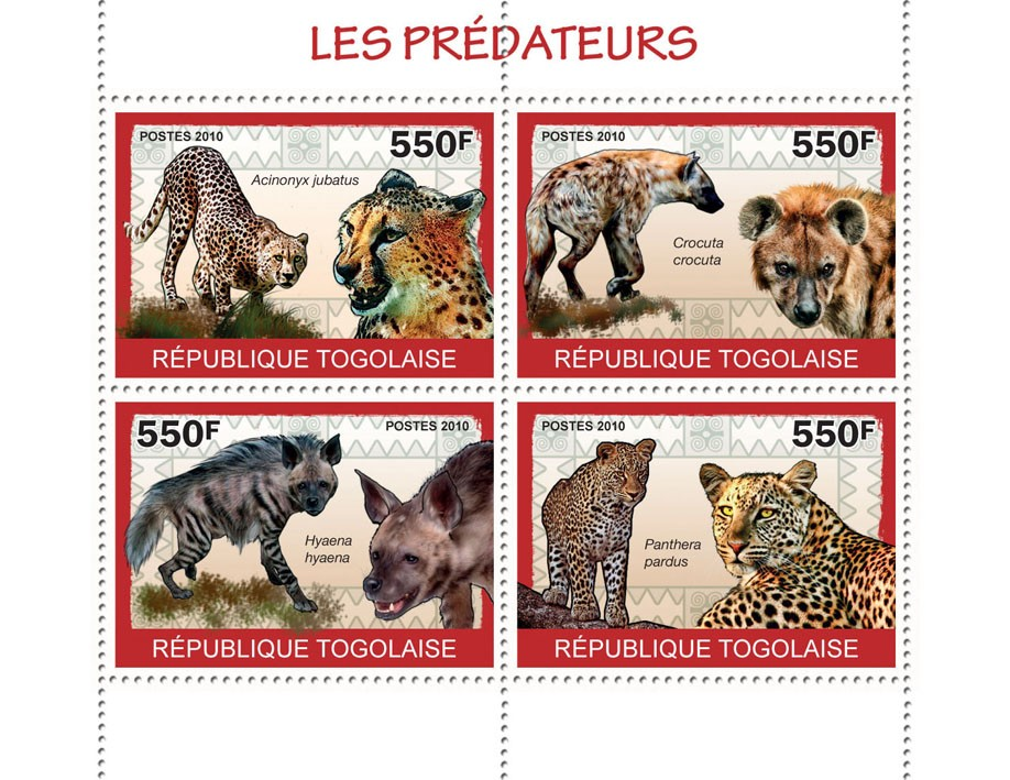 Predators II,  (Acinonyx jubatus ?タᆭ Panthera pardus) - Issue of Togo postage stamps