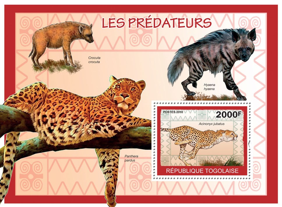 Predators II, (Acinonyx jubatus) - Issue of Togo postage stamps