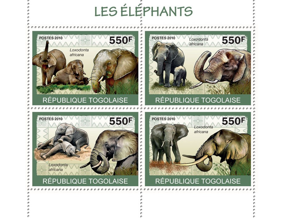 Elephants, (Loxodonta africana) - Issue of Togo postage stamps