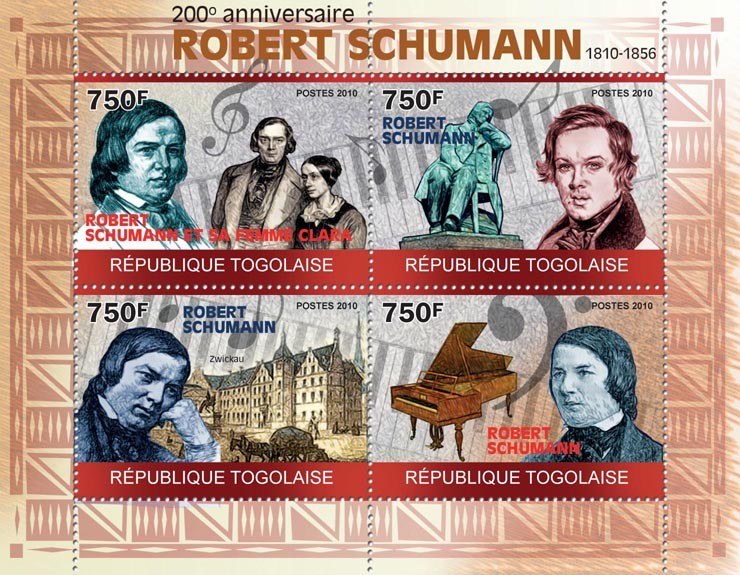 200th Anniversary of Robert Schumann, (1810-1856) - Issue of Togo postage stamps