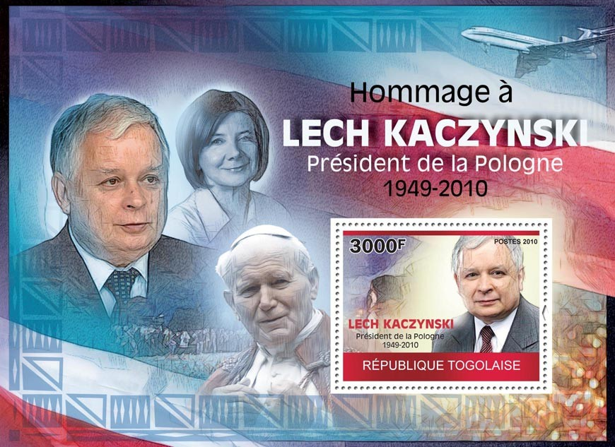 Tribute to Lech Kaczynsky (1949-2010) - Issue of Togo postage stamps