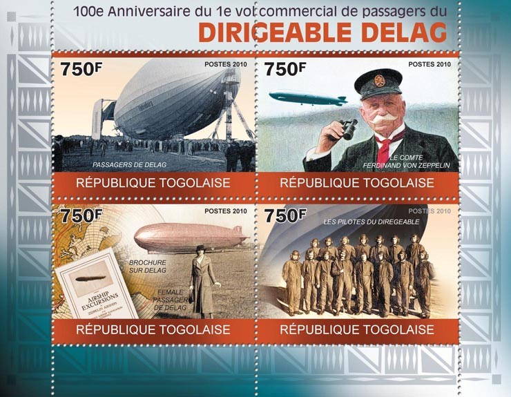 100th Anniversary of the First Commercial Flight of the Dirigible DELAG, Ferdinand von Zeppelin. - Issue of Togo postage stamps