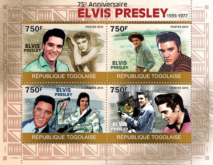 Anniversary of Elvis Presley  (1935-1977) - Issue of Togo postage stamps