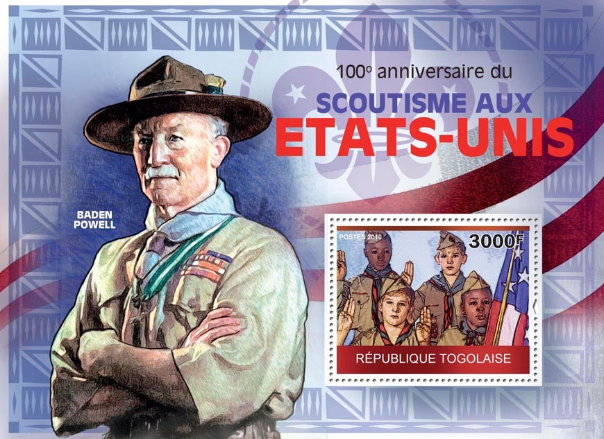 100th Anniversary of Scouting in the United States, Baden Powell - Issue of Togo postage stamps