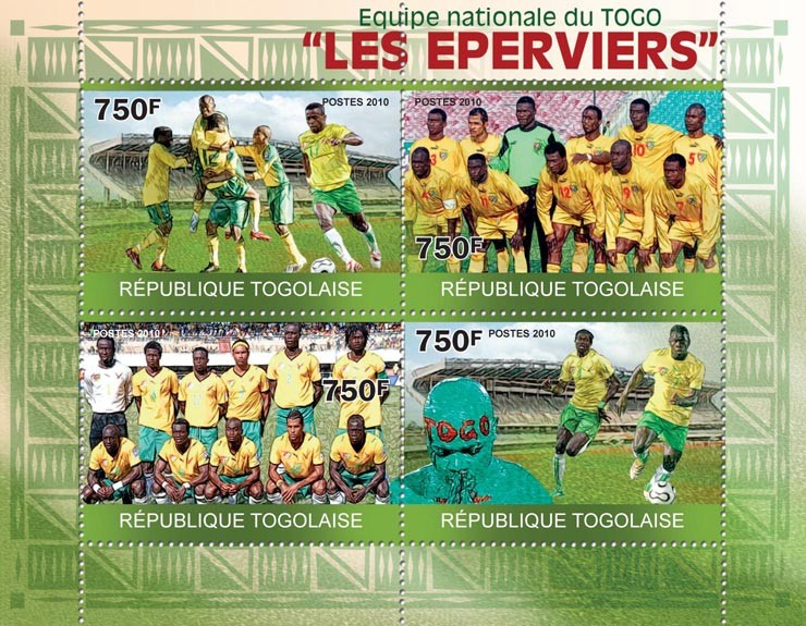 National Football Team of Togo The Hawks. - Issue of Togo postage stamps