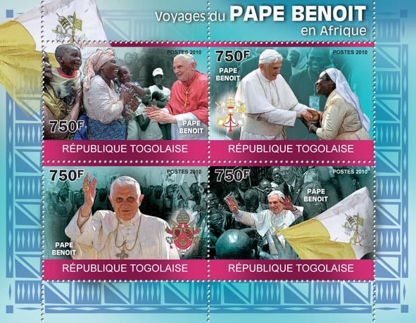 Journeys of Pope Benedict in Africa. - Issue of Togo postage stamps