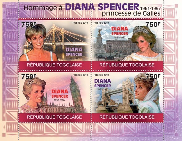 Tribute to Diana Spencer, (1961 - 1997) - Issue of Togo postage stamps