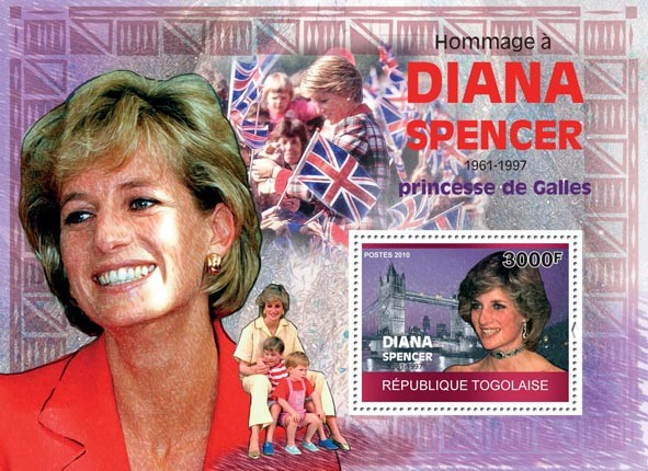 Tribute to Diana Spencer, (1961-1997) - Issue of Togo postage stamps
