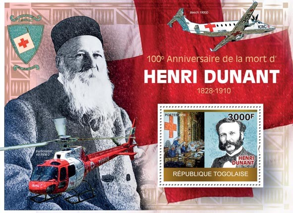 100th Anniversary of the Death of Henri Dunant, Red Cross - Issue of Togo postage stamps