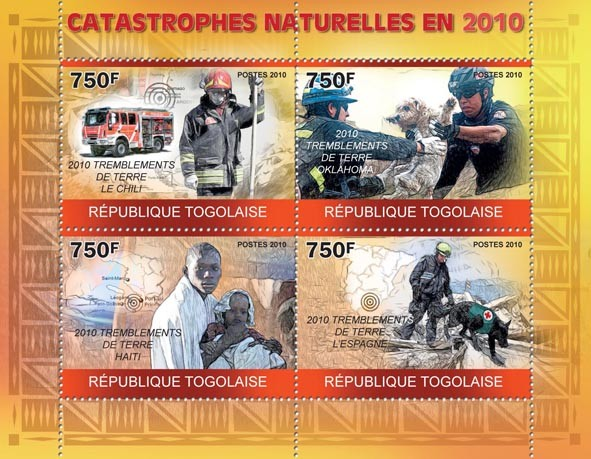Natural Disasters in 2010, ( Rescue & Fireman ). - Issue of Togo postage stamps