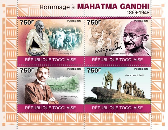 Tribute to Mahatma Gandhi, (1869 - 1948) - Issue of Togo postage stamps