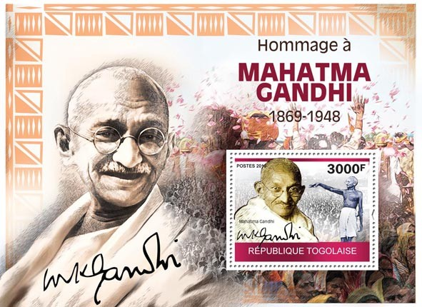 Tribute to Mahatma Gandhi, (1869-1948) - Issue of Togo postage stamps