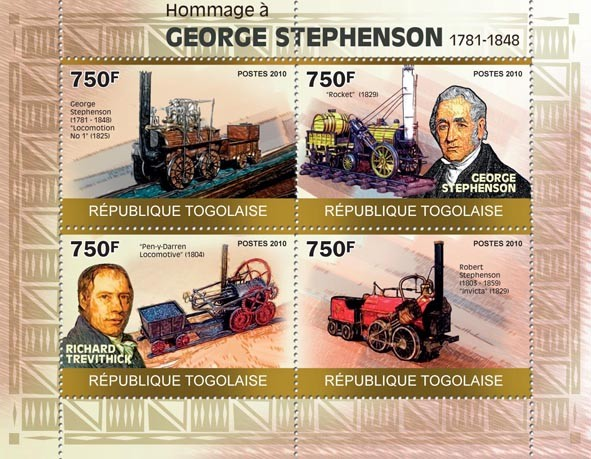 Tribute to George Stephenson, (1781-1848) - Issue of Togo postage stamps