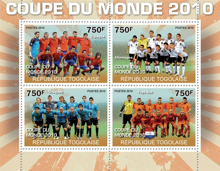 World Football Cup 2010,  (Spain, Germany, Uruguay, The Netherlands) - Issue of Togo postage stamps