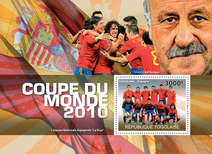 World Football Cup 2010, (National team of Spain) - Issue of Togo postage stamps