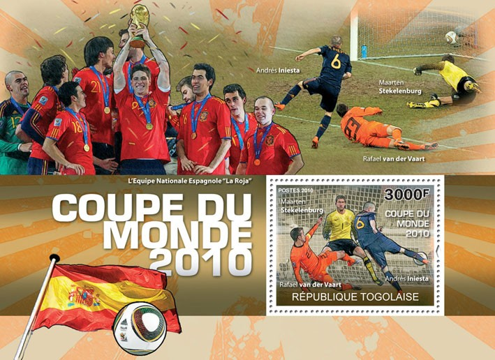 World Football Cup 2010,  (A. Iniesta, R. Van der Vart, M.Stekelenburg) - Issue of Togo postage stamps