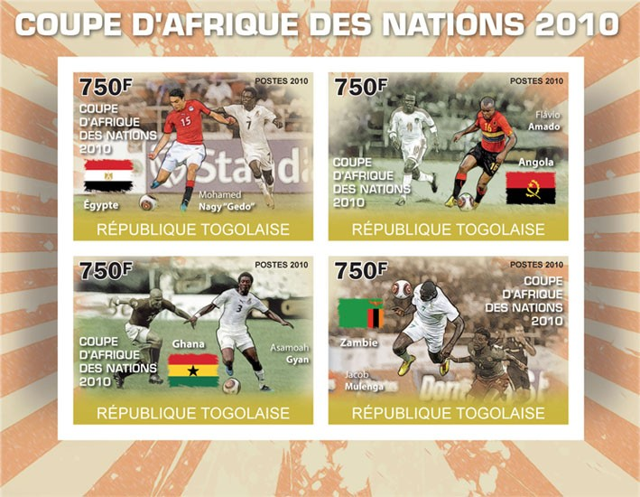 Africa Football Cup of Nations 2010, ( Egypt, Angola, Ghana, Zambia ) - Issue of Togo postage stamps