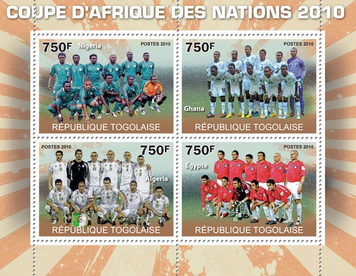 Africa Football Cup of Nations 2010, (Nigeria, Ghana, Algeria, Egypt) - Issue of Togo postage stamps