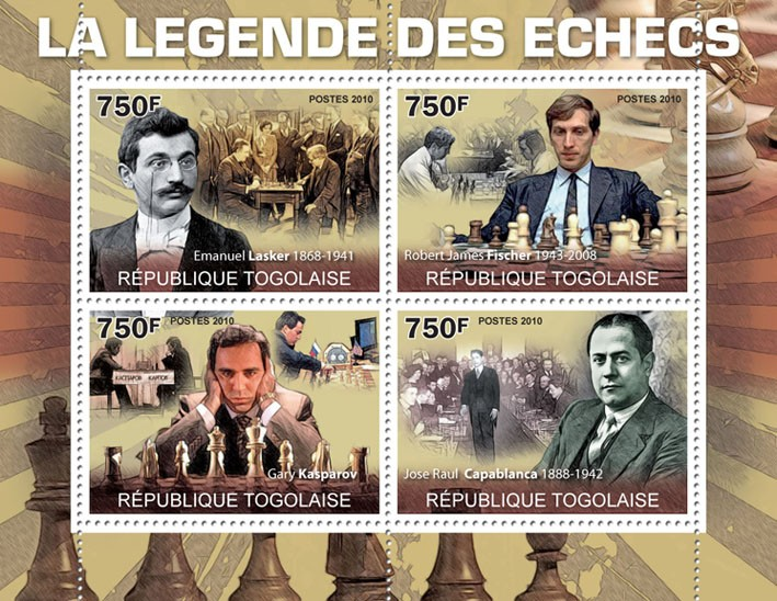The Legend of Chess, ( E.Lasker, R.J.Fisher, G.Kasparov, J.R. Capablanca ) - Issue of Togo postage stamps