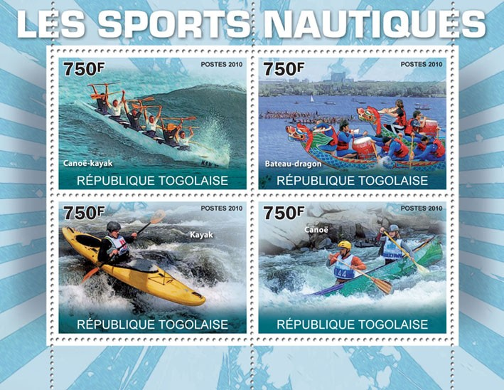 Water Sports I, (Canoe-Kayak, Dragon-Ship, Kayak, Canoe). - Issue of Togo postage stamps